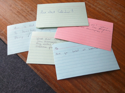 Coloured Index cards with the questions below written on them